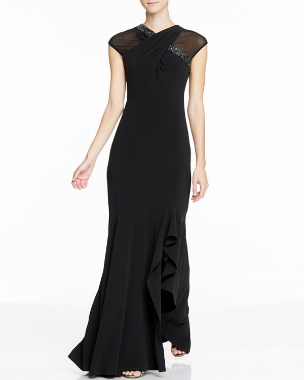 ビーズ&メッシュのブラックジャージードレス