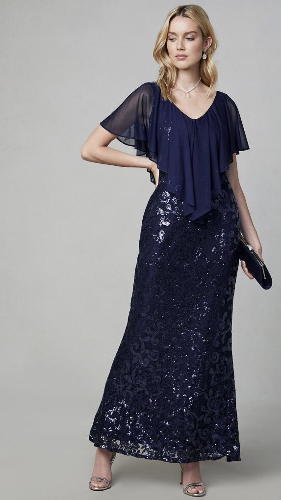 スパンコール&シフォンのネイビーブルーデザインドレス
