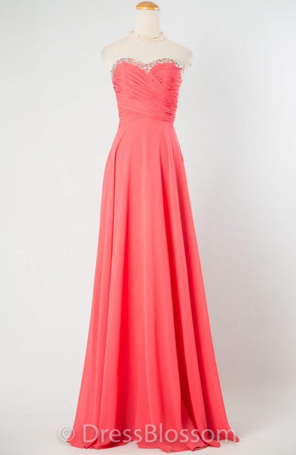 サーモンピンクのシフォンビスチェドレス