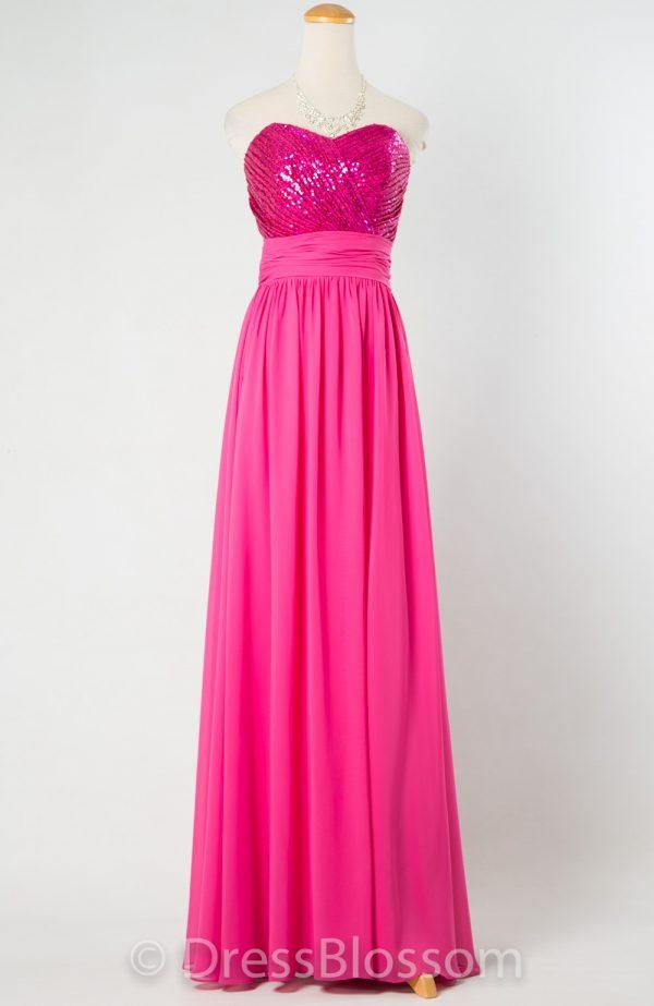 シルバー&サーモンピンクのビスチェドレス